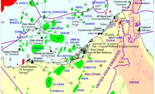 Map of Oil fields UAE